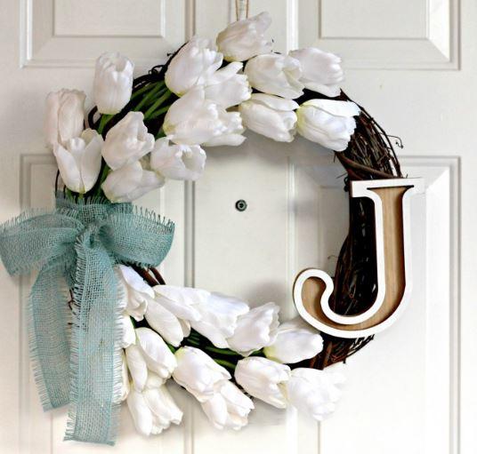 Spring Wreath Tulip Monogram