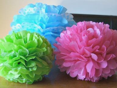 Tissue Paper Pom Flowers blue green pink