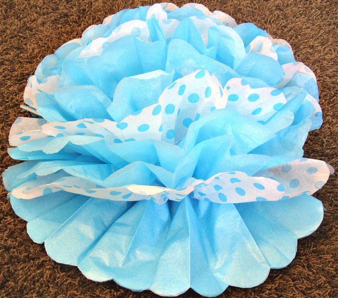 Tissue Paper Pom Flowers blue