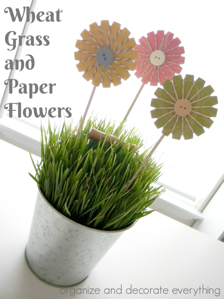 Wheat Grass and Bakers Twine Paper Flowers