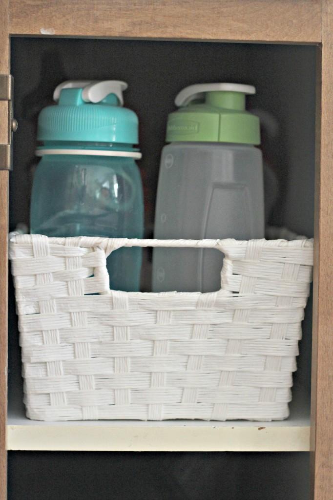 organizing water bottles