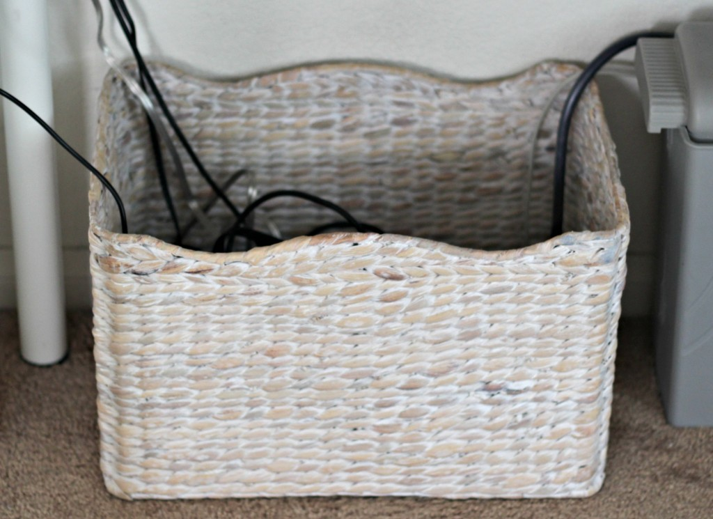 organizing with baskets cords