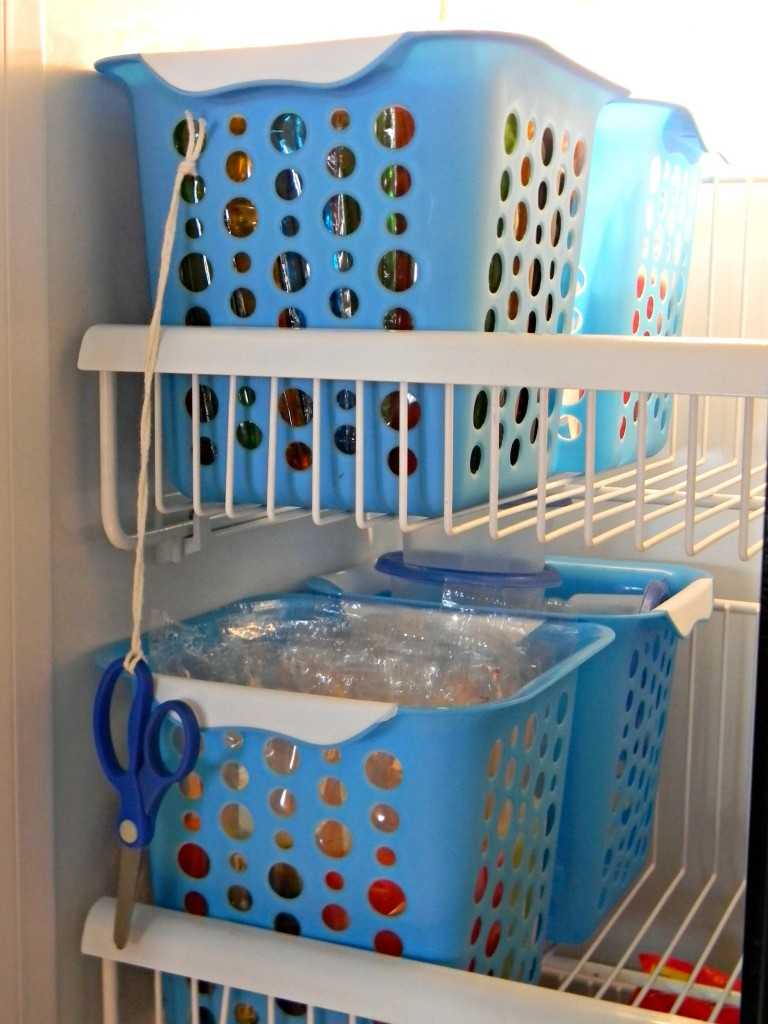 organizing with baskets freezer