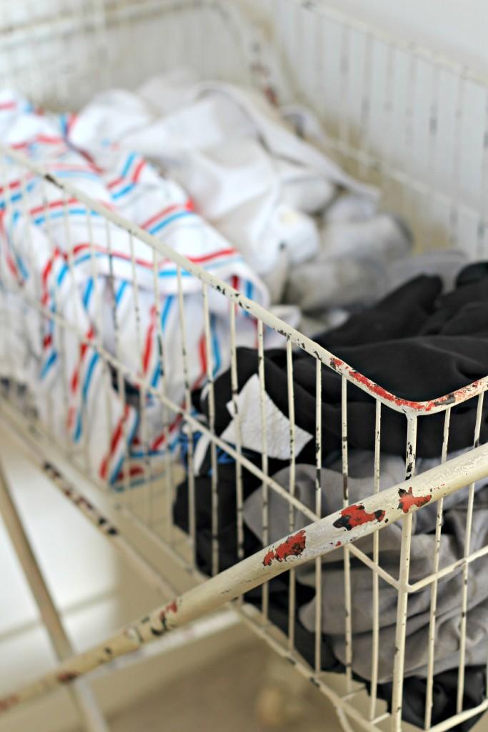 organizing with baskets laundry