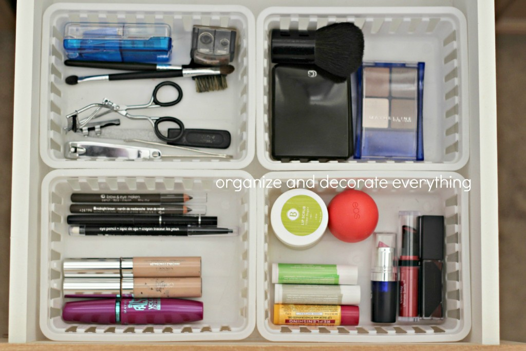 organizing with baskets make up