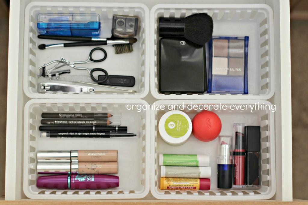 organizing with baskets make up