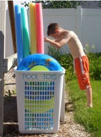 organizing with baskets pool toys