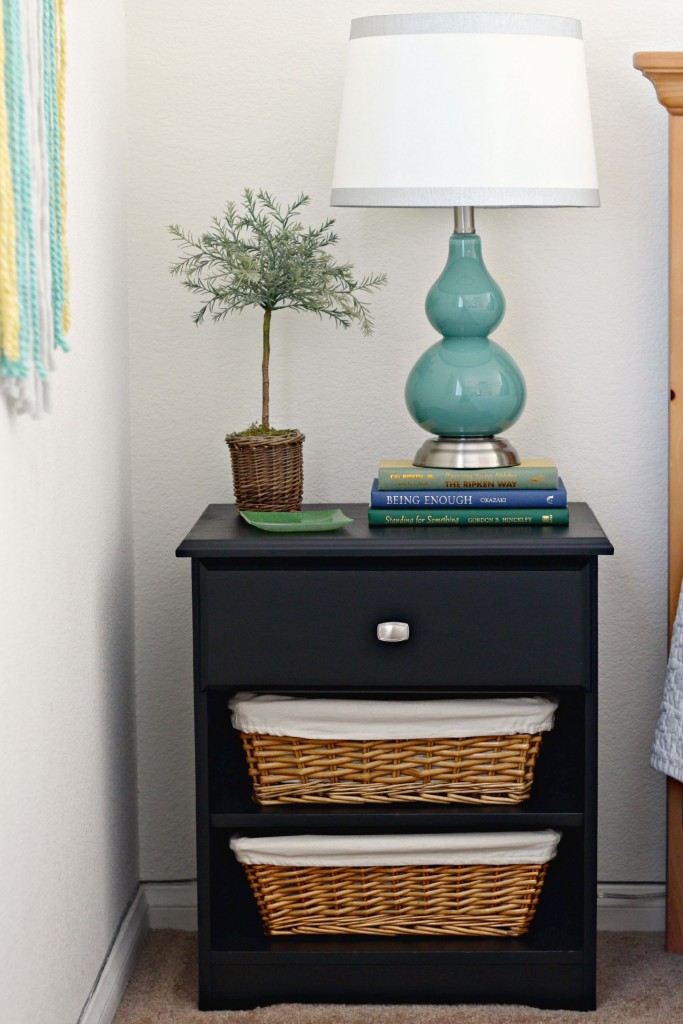 organizing with baskets side table