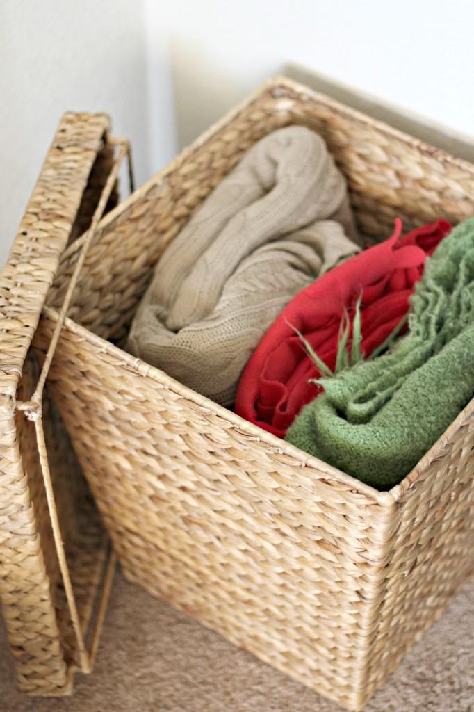 organizing with baskets storage