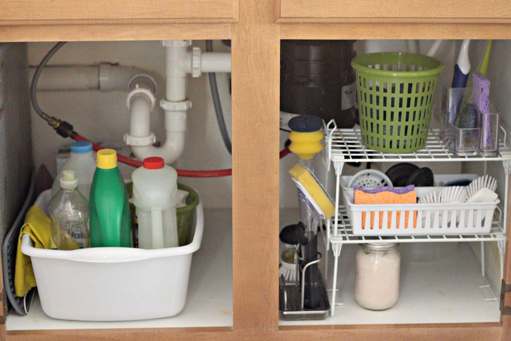 under the kitchen sink organizing
