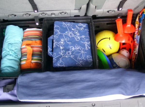 organizing trunk of car