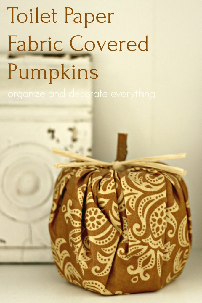 Toilet Paper Fabric Covered Pumpkins with real stems