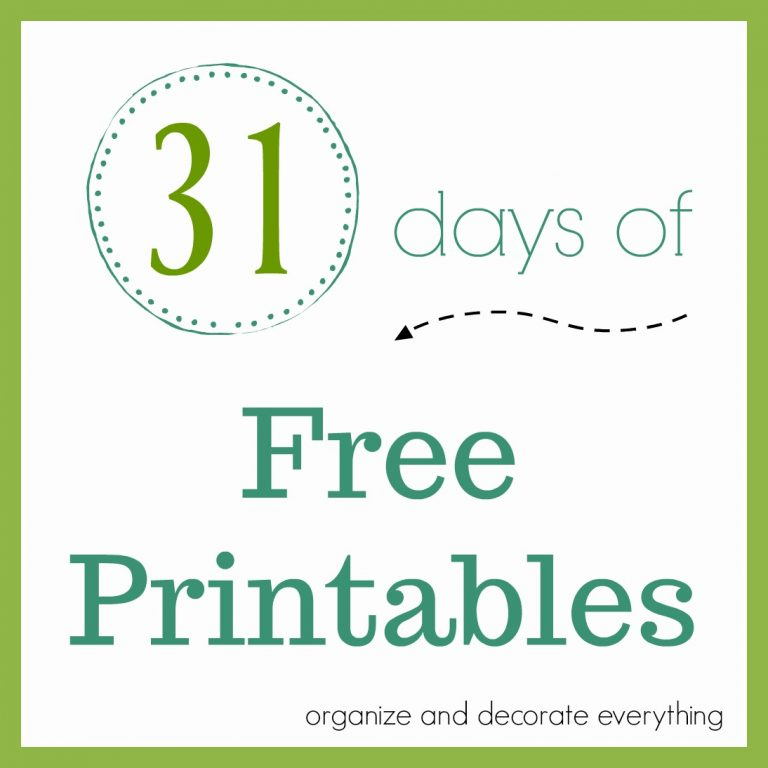 31 Days Of Free Printables
