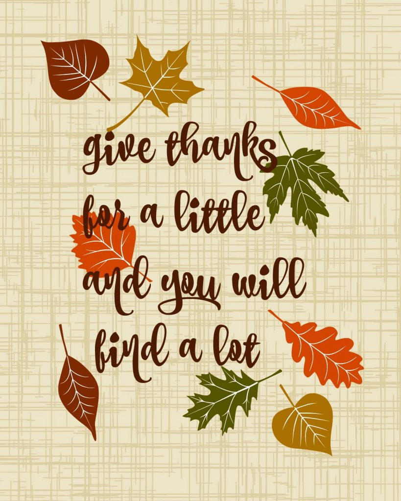 printable give thanks for a little