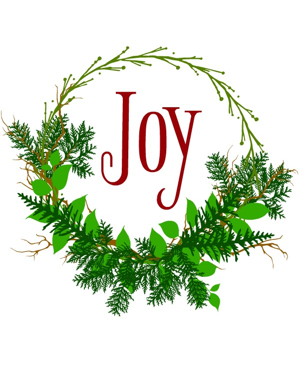 printable Joy Wreath