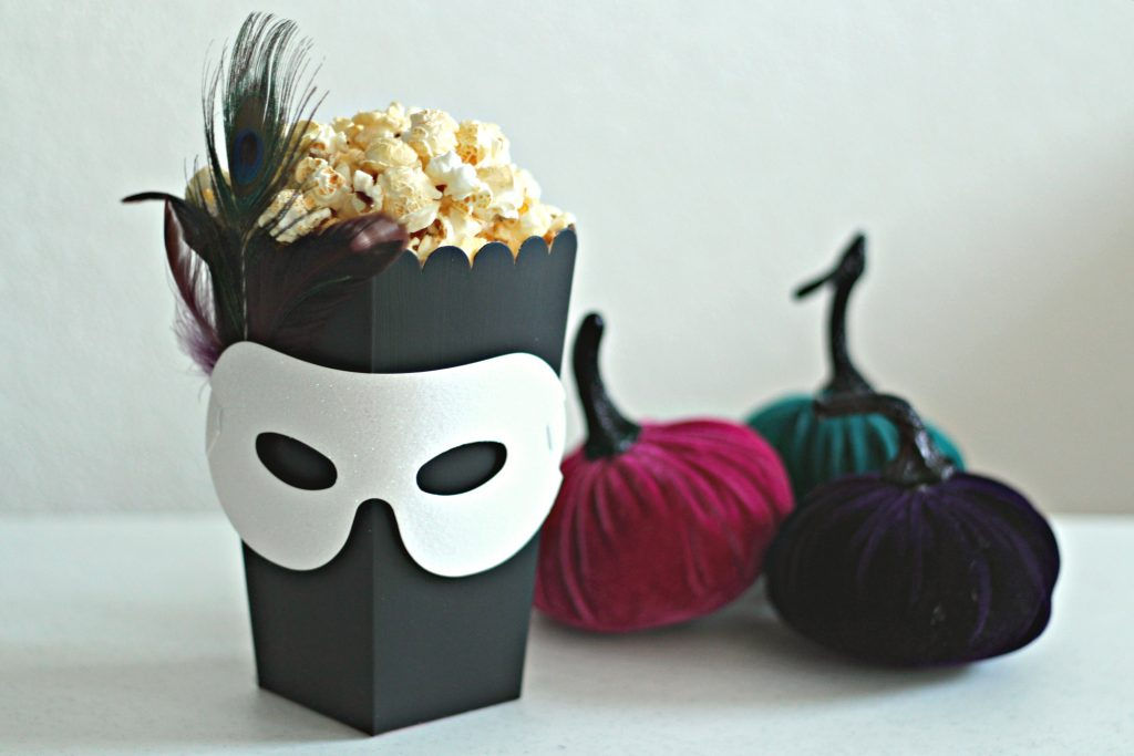 masquerade popcorn box with mask