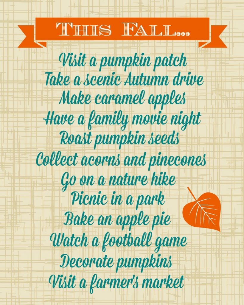 printable Fall Fun list
