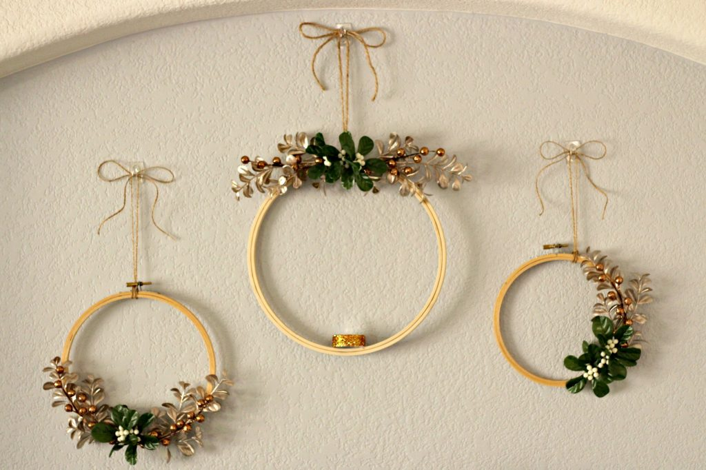 Comfort and Joy Christmas Mantel hoop wreaths
