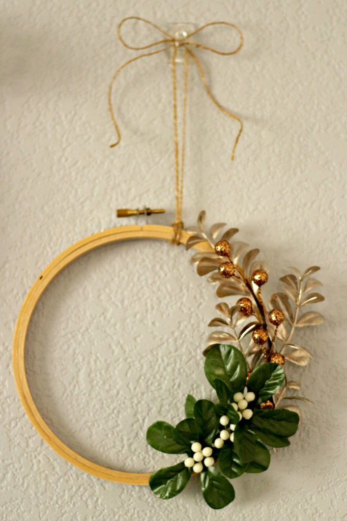 Comfort and Joy Christmas Mantel small hoop wreath