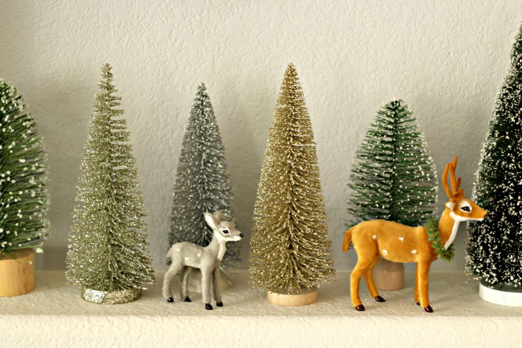 Comfort and Joy Christmas Mantel trees and deer