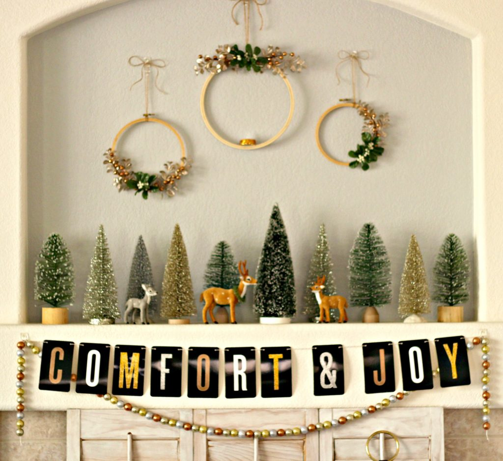 Comfort and Joy Christmas Mantel trees deer wreaths