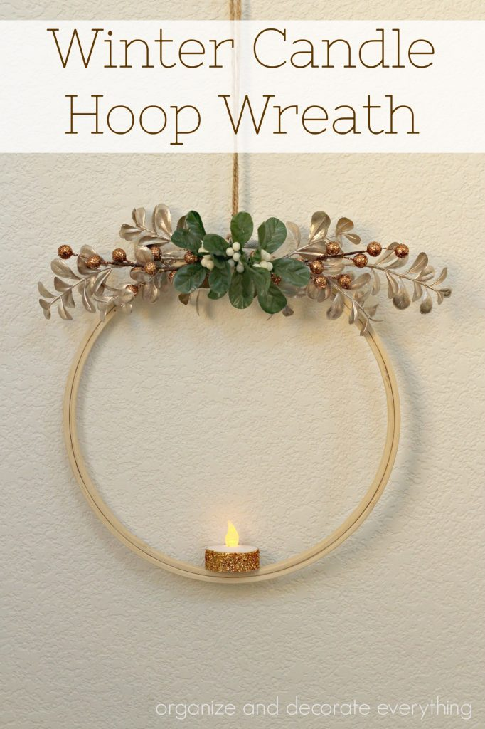 Winter Candle Hoop Wreath created in less than 15 minutes