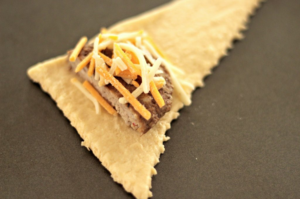 Sausage Cheese Crescent sandwich prep