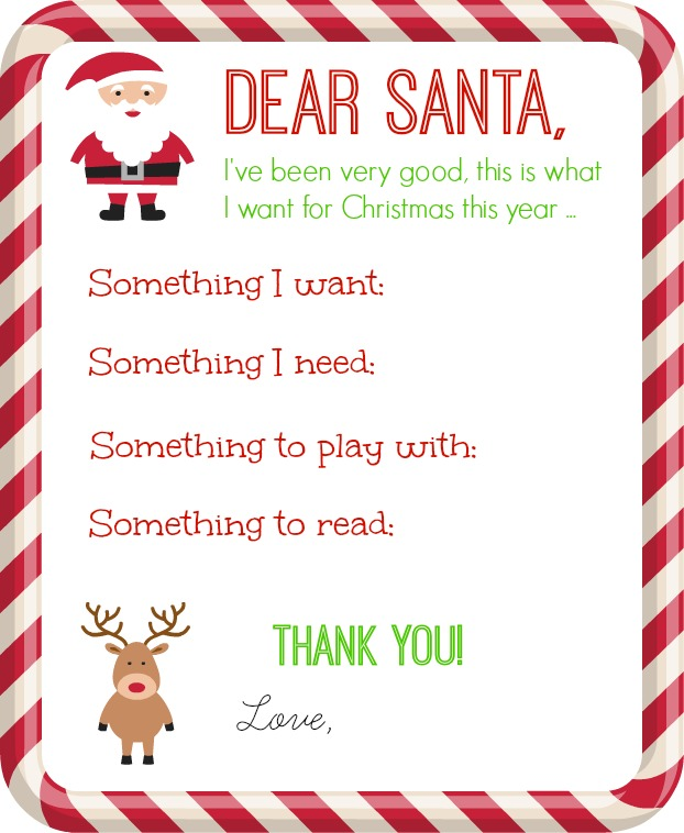 A Letter To Santa Template: Christmas Printables Collection