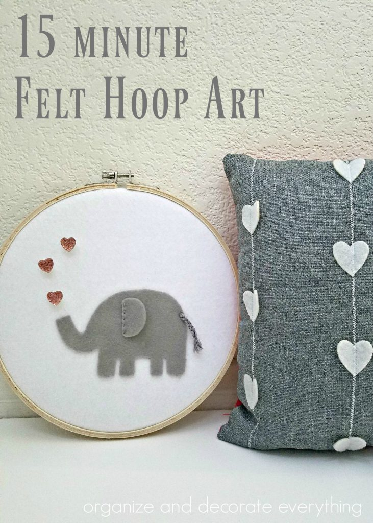 15 minute felt elephant hoop art