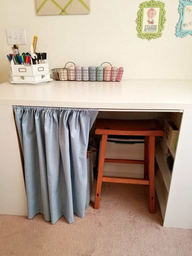 Craft Table curtain open