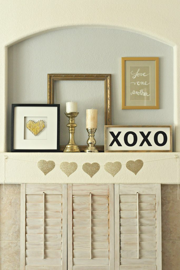 Love One Another Valentines Day Mantel