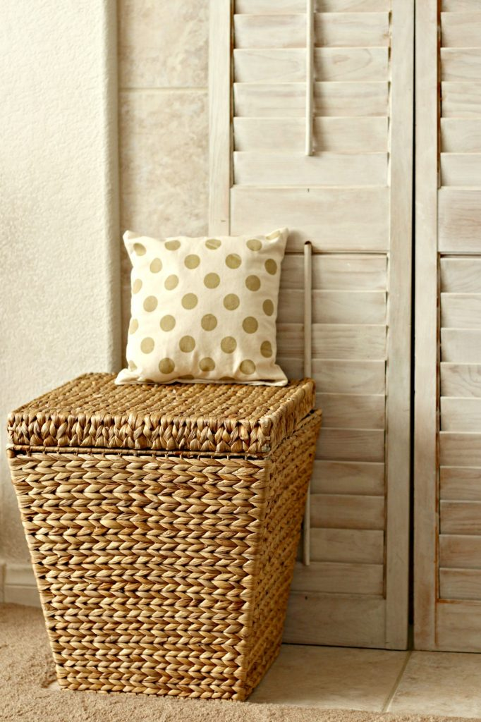 basket and pillow fireplace mantel