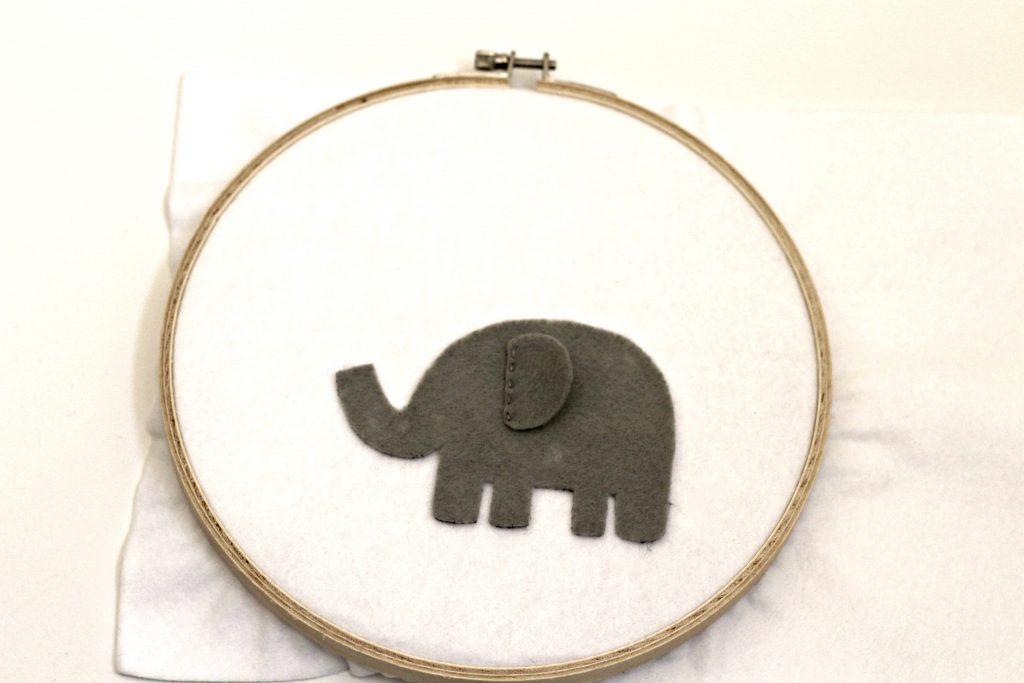 elephant felt hoop