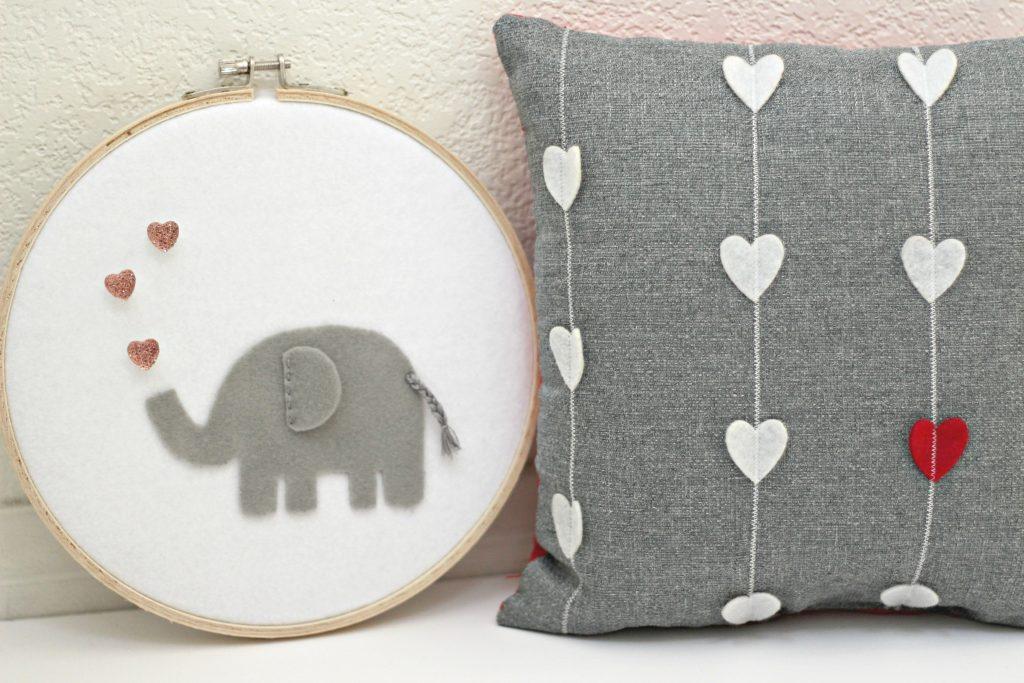 felt elephant stitched hoop