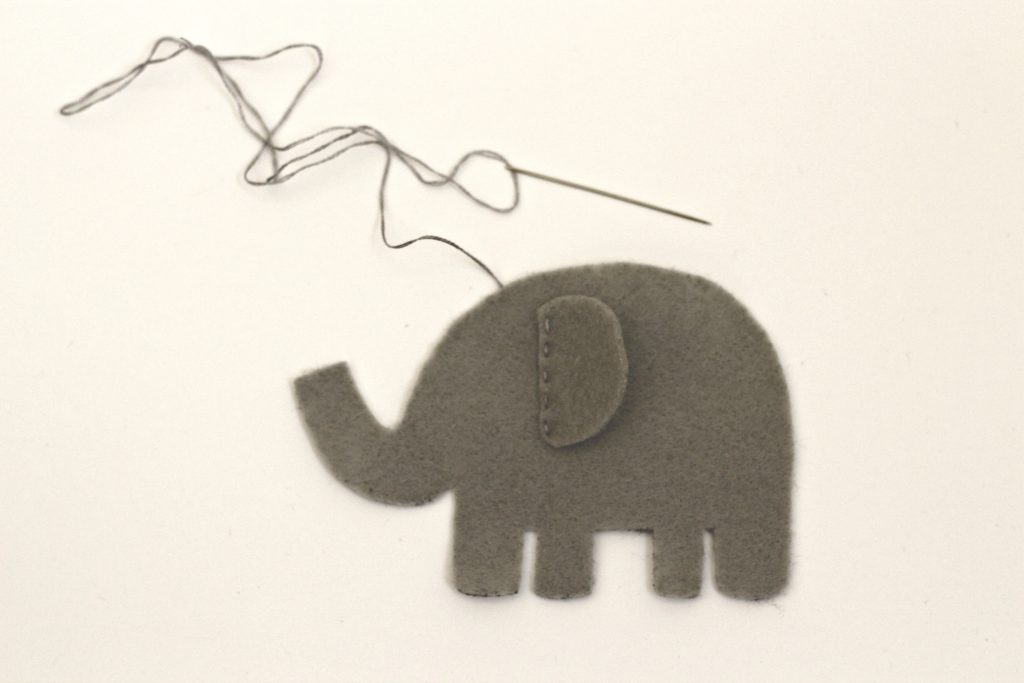 felt elephant with sewn ear
