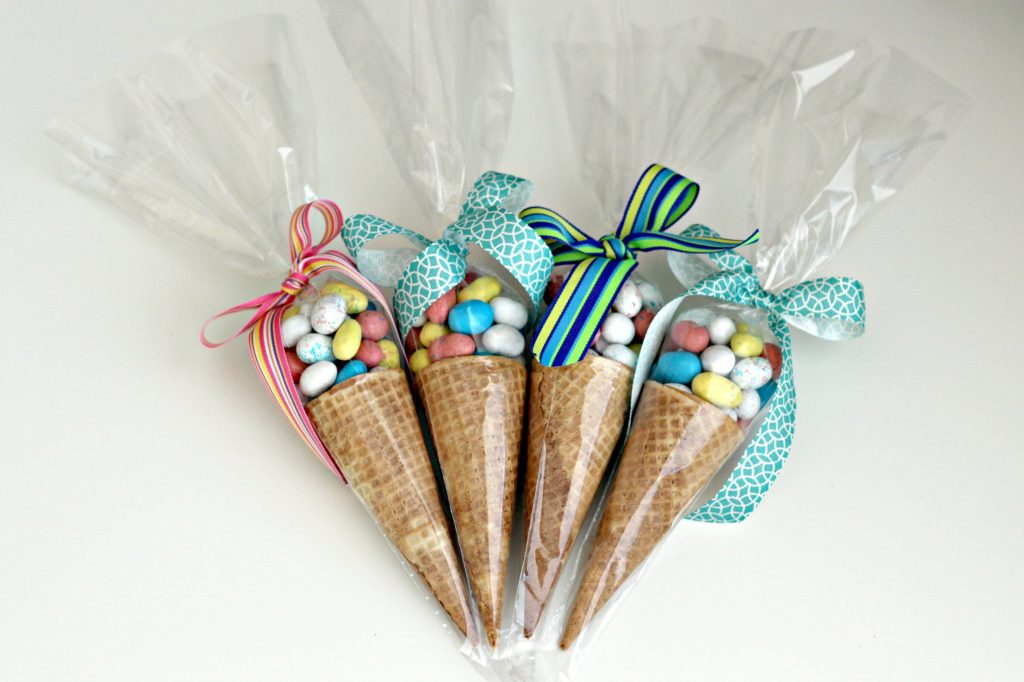Candy Cones with Easter candy
