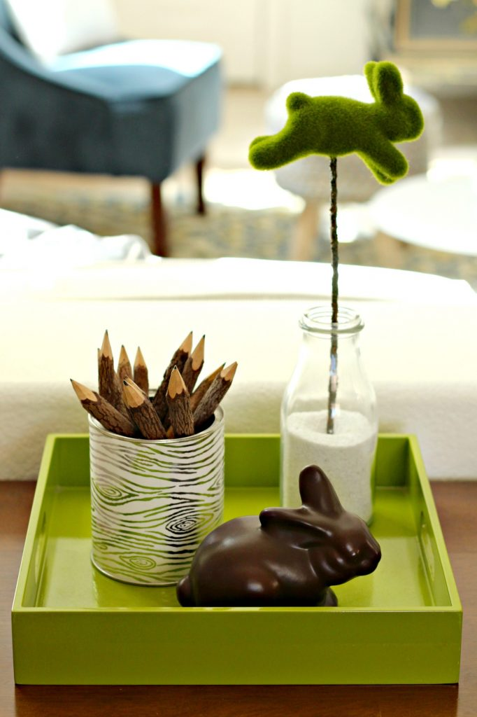 Easter decor bunnies on tray
