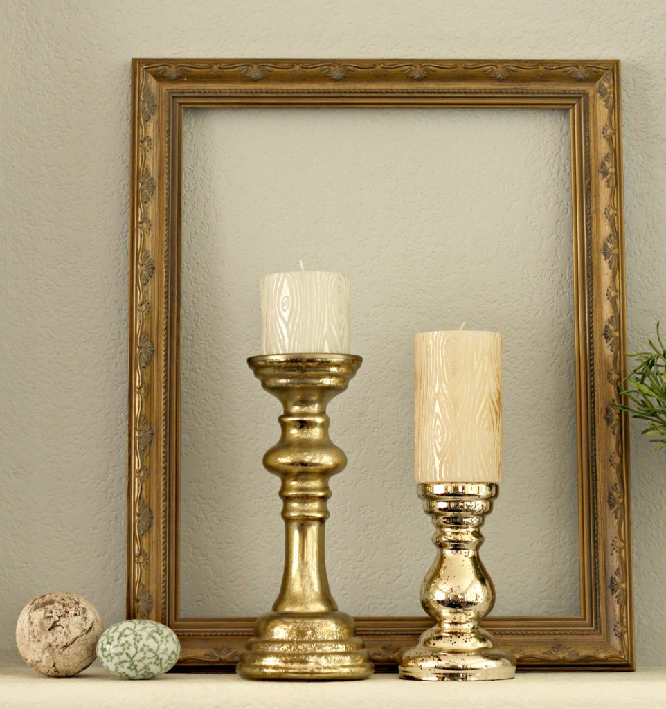 Easter mantel candles and frame