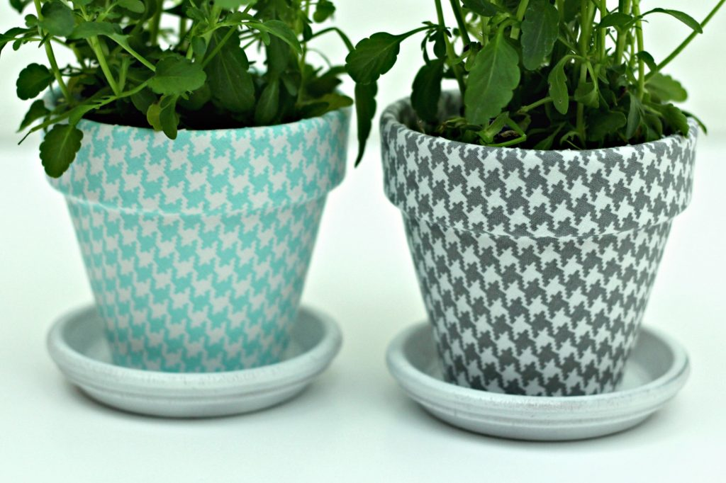 Fabric Covered Clay Pots planted