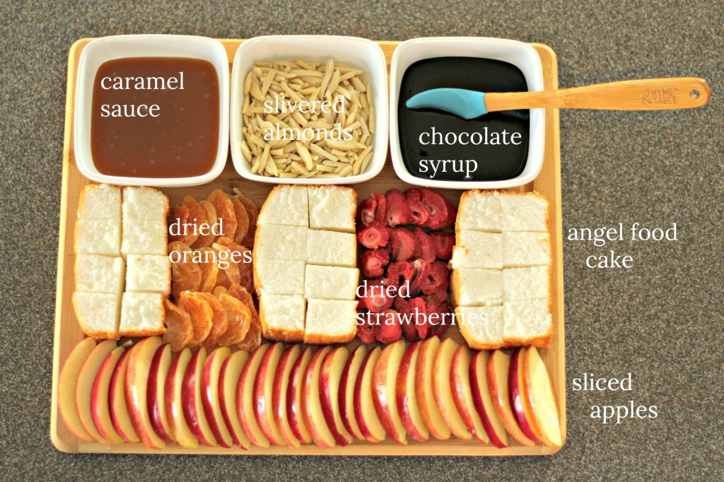 labeled dessert tray