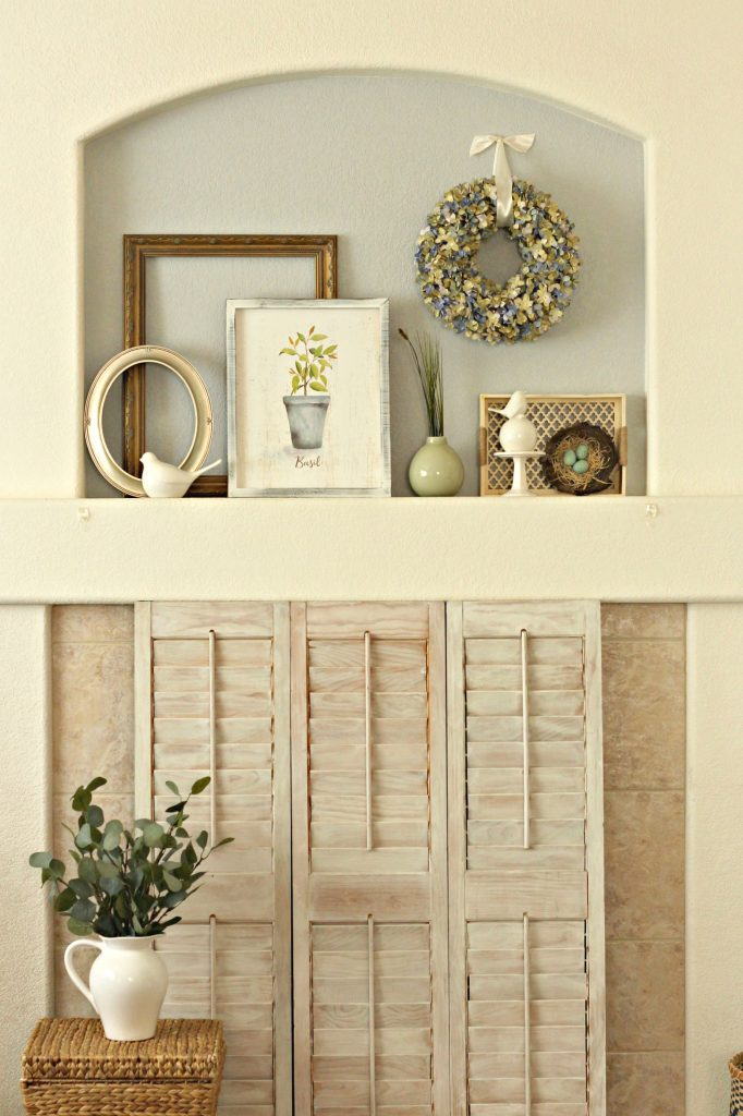 Spring garden mantel and fireplace