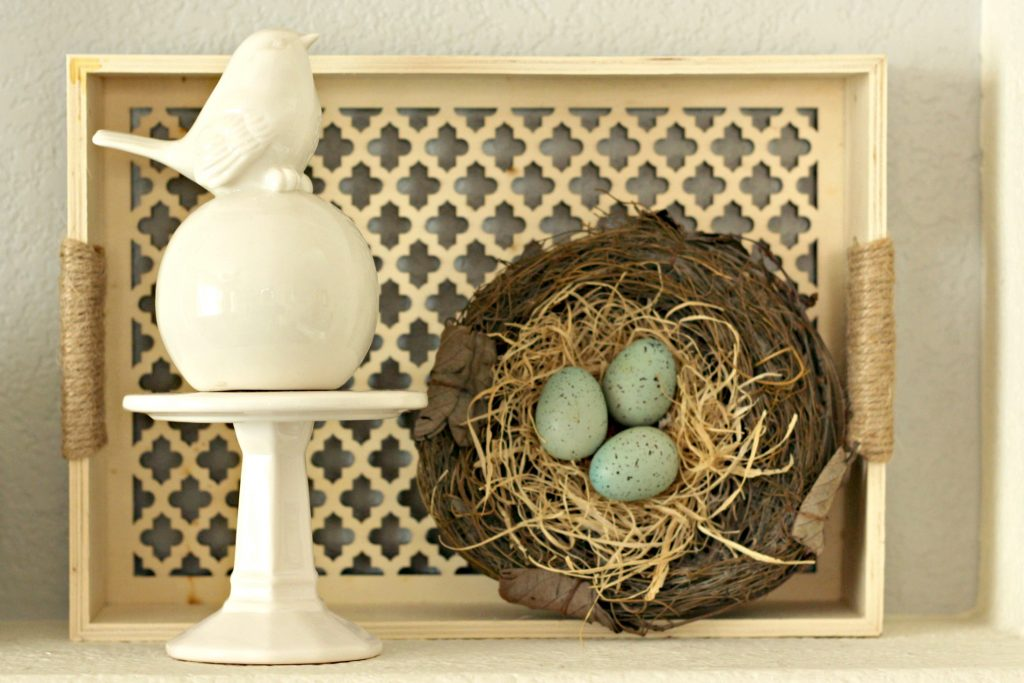 Spring garden mantel bird and tray
