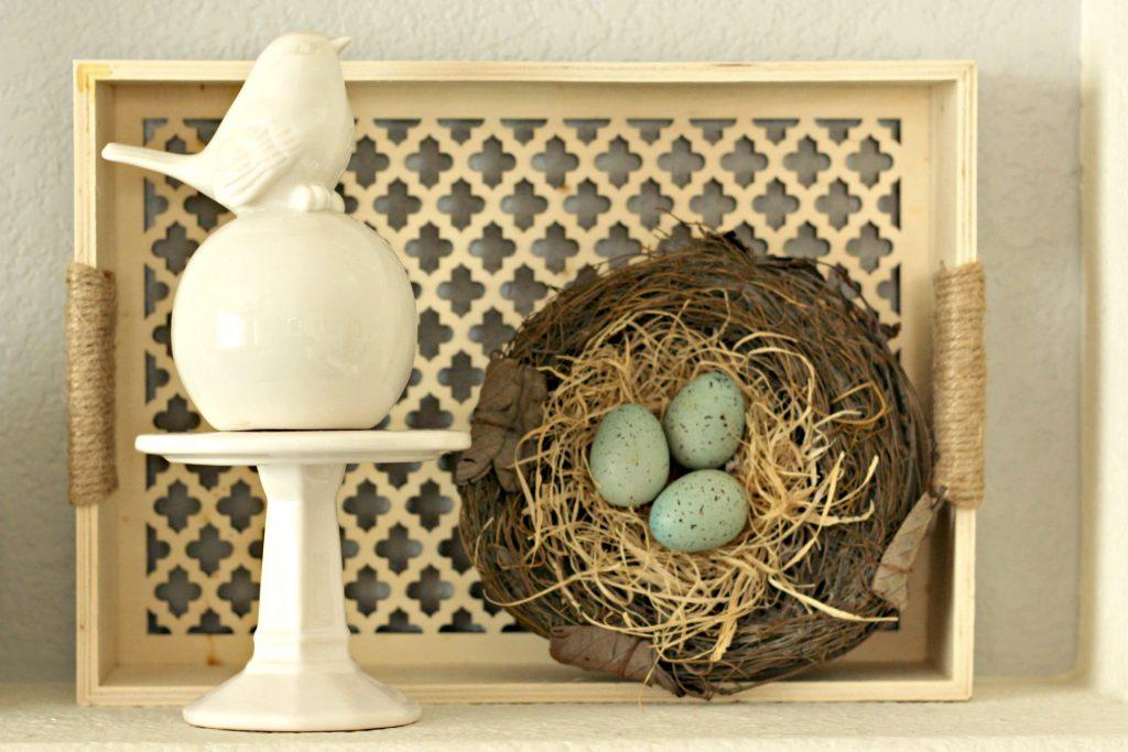 Spring garden mantel bird and tray