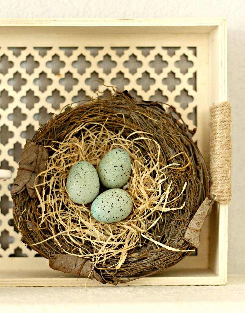 Spring garden mantel bird nest