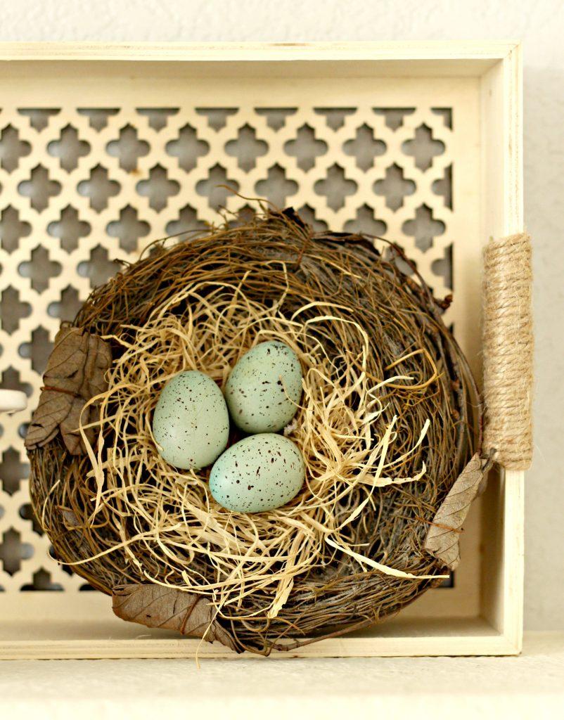Spring garden mantel bird nest