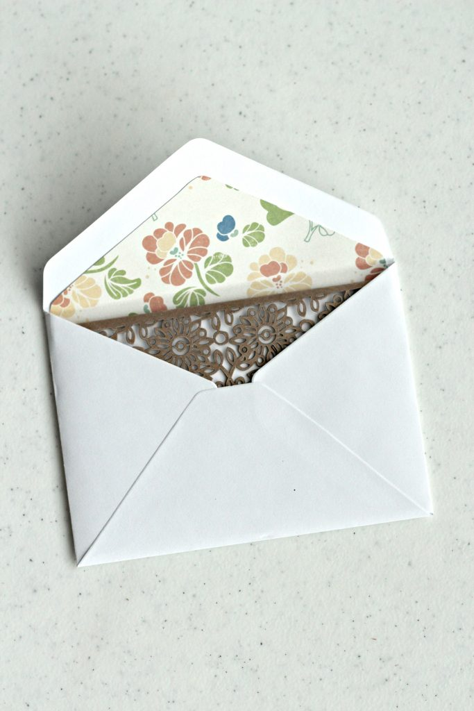 envelope liner with card