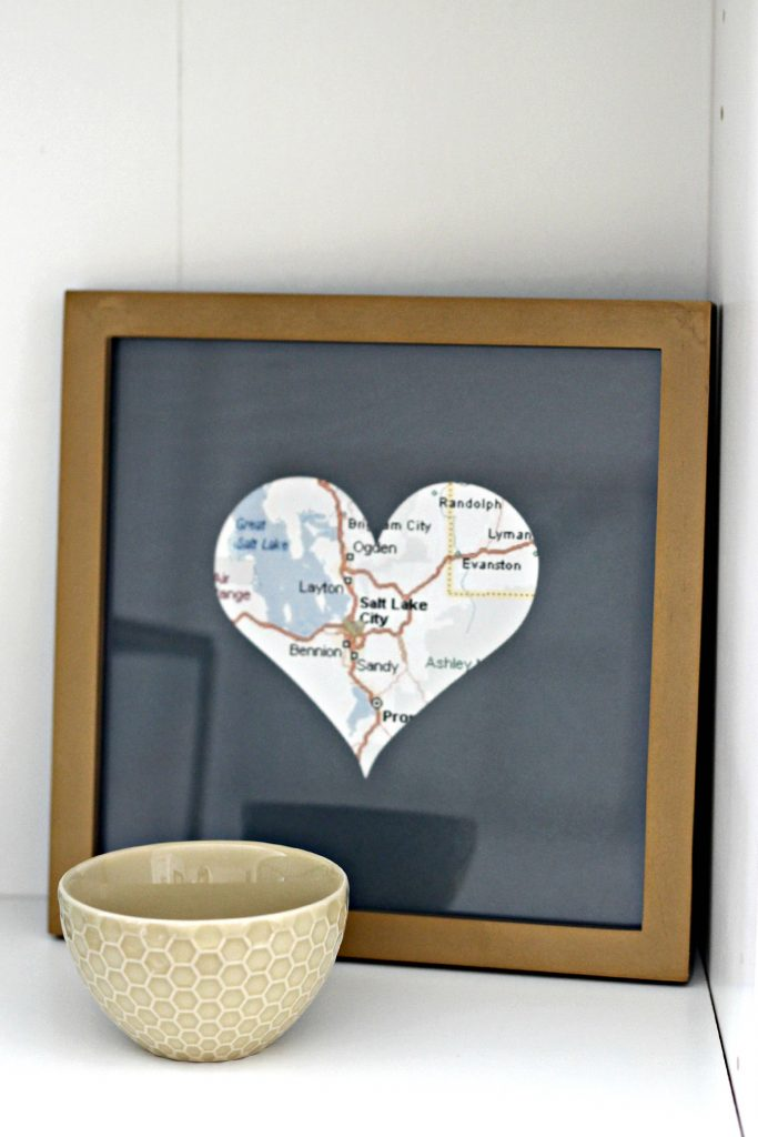 heart framed map