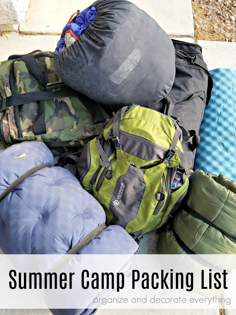 Summer Camp Packing List for a week