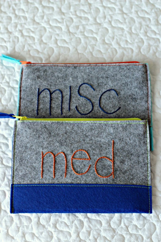 Embroidery Felt Pouch stem stitches