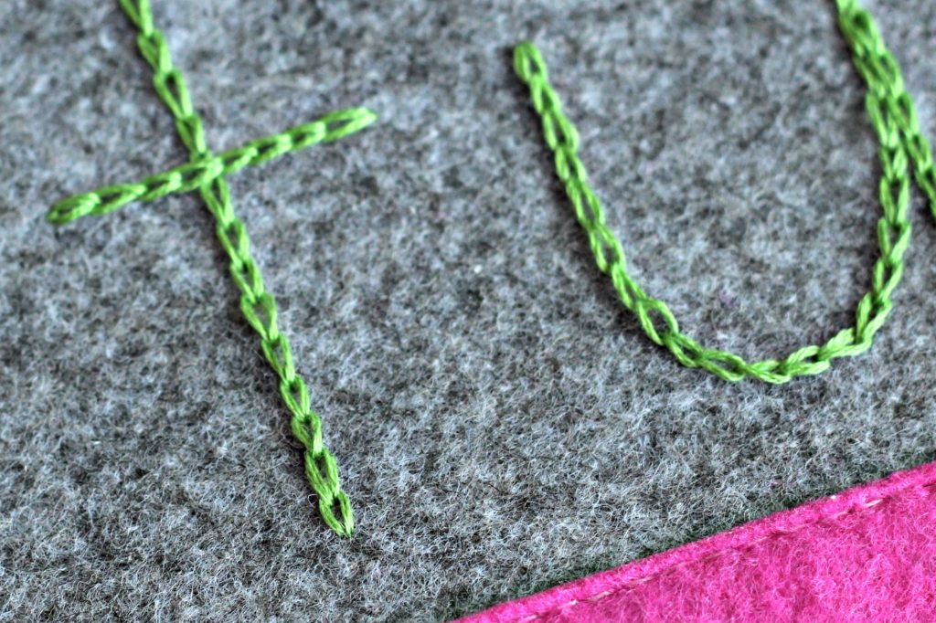 Embroidery Pouch chain stitch
